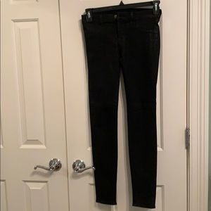 J Brand black wax stretch skinny jeans